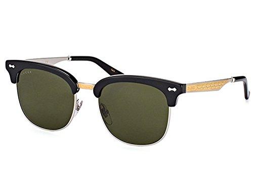Gucci GG 0051S 001 Black Gold Plastic Fashion Sunglasses Green Lens - Gucci Shades For Men