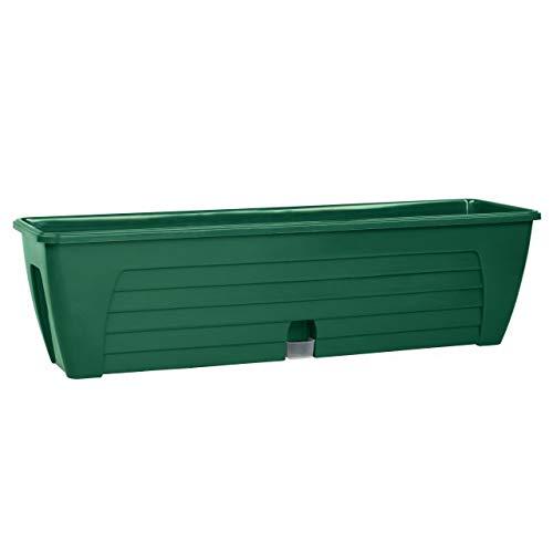 Santino Self Watering Window Box Planter LIDO 24 Inch Green Indoor Outdoor Plastic Windowsill Planter