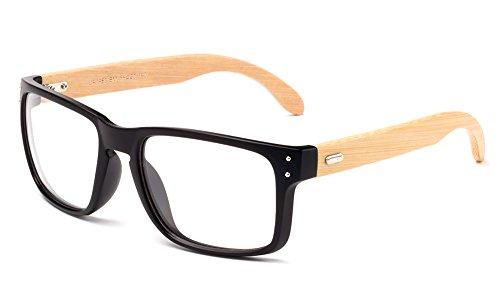 Newbee Fashion - Retreat Bamboo Squared Oversized Modern Design Fashion Clear Lens Glasses Matte Black/Light Bamboo