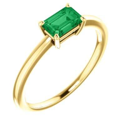 Chatham Created Emerald Ring - 3