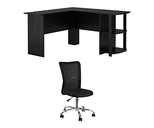 Ameriwood, L-Shaped Office Desk with Side Storage, Black Bundle with Mainstays Adjustable Mesh Desk Chair, Black