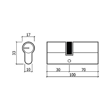 GLK C60E60L Cilindro de Seguridad Latón 60 mm: Amazon.es: Bricolaje y herramientas