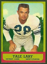 - 1963 Topps Regular (Football) Card# 33 Yale Lary of the Detroit Lions ExMt Condition