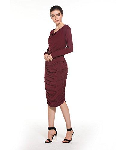 MODETREND Elegante Vestidos Para Mujeres V-escote Vestido de Manga Larga para Fiesta Bodas Cóctel Morado