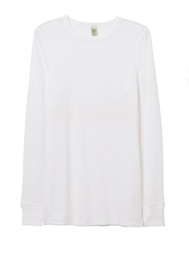 Alternative Mens Basic Thermal Long Sleeve Crew T-Shirt Large White