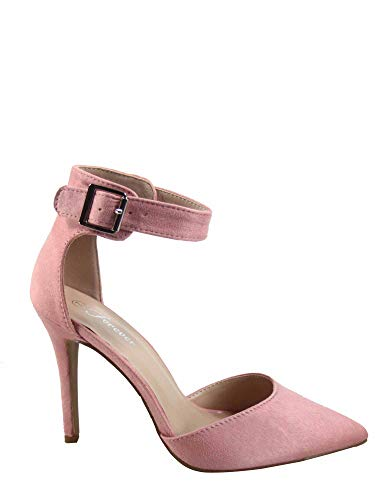 FZ-Young-05 Women's Fashion Pointed Toe Ankle Strap High Heel Sandal Shoes (6 B(M) US, Dusty Pink)