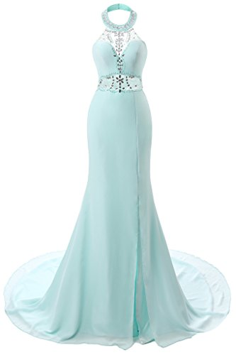 YSFS Women's 2017 Halter Mermaid Long Evening Dress Prom Dress Gowns US4