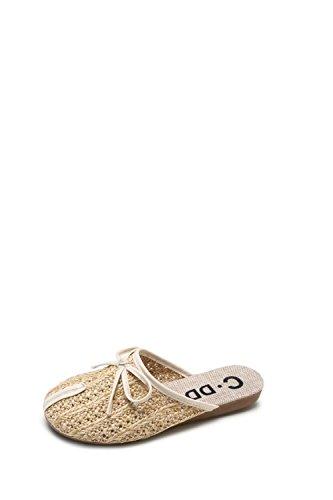 38 Lin Mori Sandales Plat Beige Corde 36 XING Les Tressée Confortable GUANG Nouvelles White Tête Creuse Chaussures Décontractées Girl Pantoufles Paille xfwqUzB
