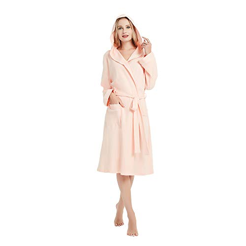 M&M Mymoon Womens Hooded Cotton Robe Soft Kimono Spa Knit Bathrobe Lightweight Long (Pink, 2XL)