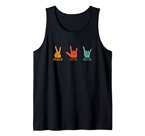 (Classic Peace Love Rock Vintage Concert Band Gift Tank Top)