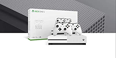 Microsoft Xbox One S 1TB/2TB Two-Controller Bonus Bundle: Two Xbox Wireless Controller, Xbox One S 4K HDR Console - White