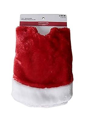 "Kurt Adler 18"" Mini Red Plush Tree Skirt with White Trim"