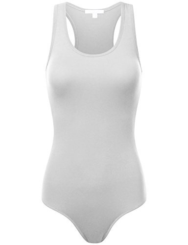BEKTOME Womens Comfortable Basic Solid Soft Stretchy Tank Top Bodysuit-S-White