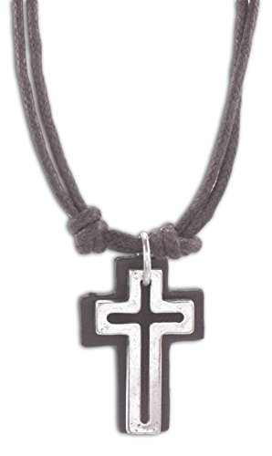 Cross Surfer Necklace - Cruz Accessories Open Cross with Leather Back on Double 16