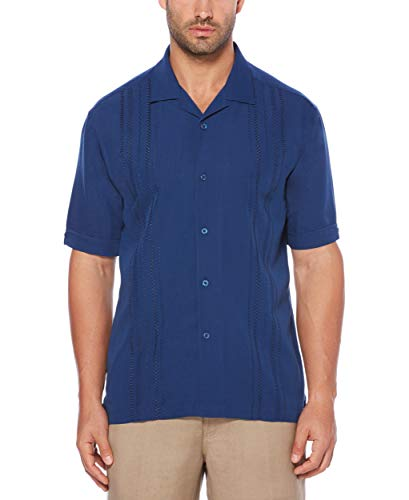 Cubavera Men's Short Sleeve Rayon-Blend Solid Cuban Camp Shirt with Pocket, Estate Blue, - Shirt Camp Solid Mens