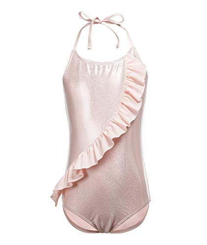 Girls One-Piece Swimsuit Halter Ruffle Design Pink Princess Backless Swimwear 14-16