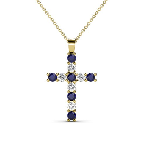 Petite Blue Sapphire & Diamond Cross Pendant 0.34 cttw in 14K Yellow Gold with 14K Gold Chain by TriJewels