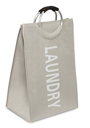 BIRDROCK HOME Oxford Laundry Bag | Clothes Storage | Sewn-in Frame | College Student Laundry Bin | Foldable | Cream