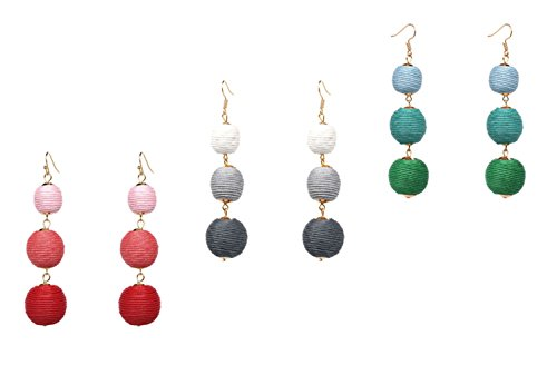 Ainiya Statement Earrings Set Bohemia Long Tassel Earrings Women Black Drop Dangle Earrings Green Gray Red Blue Multicolor (Set Drop Heart Earring)