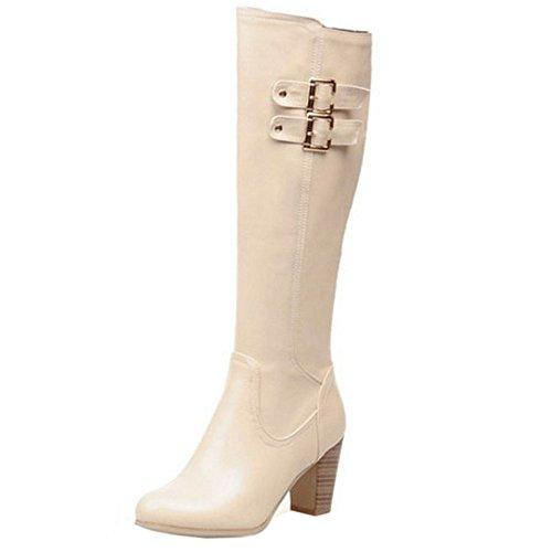 COOLCEPT Women's Fashion Knee High Boots With High Block Heel Beige 4rzkJYu6