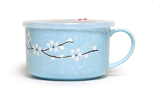 (Microwavable Ceramic Noodle Bowl with Handle and Seal Fine Porcelain Sakura Snow Flake Floral Design (SkyBlue))