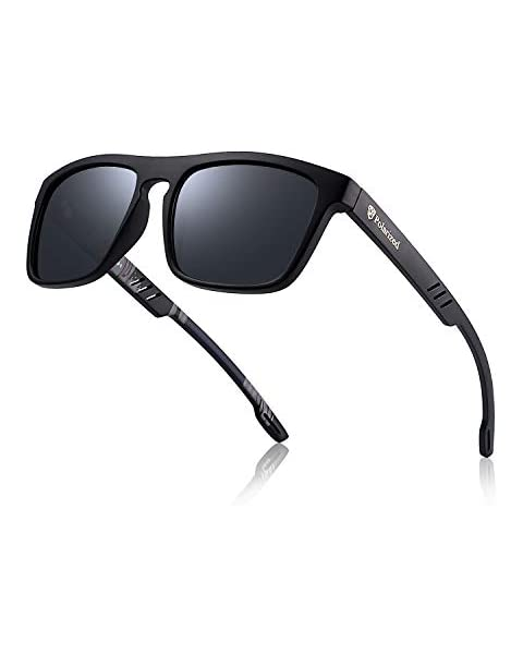 ccdfe93158a Divvsck Mens Sports Polarized Sunglasses Uv Protection Square Sunglasses  for Men Women (Black