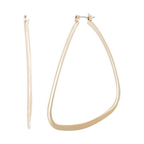 Catherine Malandrino Polished Oblong Triangle Yellow Gold-Tone Hoop Earrings for Women (Yellow)