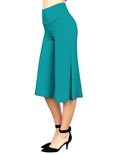 Straight Leg Crop Pant - Made By Johnny WB876 Womens Knit Culottes Pants XXXXXL Jade
