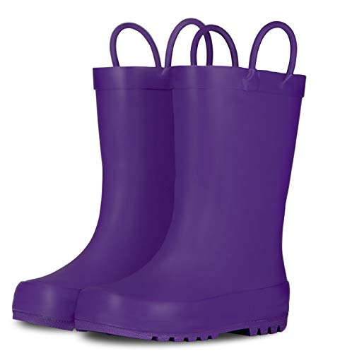 LONECONE Elementary Collection - Matte Rain Boots with Easy-On Handles for Toddlers and Kids, Grape Jelly Purple, Toddler 6