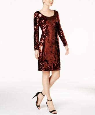 Calvin Klein Womens Sequined Mini Cocktail Dress Brown 12
