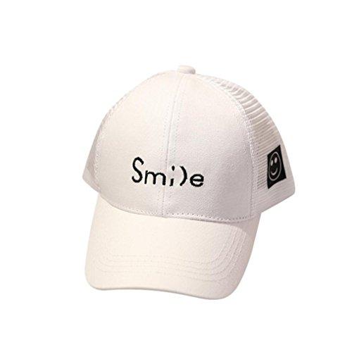 Large Flower Clip Peak (Baby Infant Baseball Hat Cap, Iuhan Smile Letter Embroidery Bongrace Hat Peak Mesh Low Profile Baseball Cap Sunhat (White))