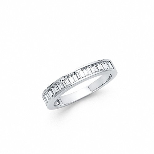 Eternity Baguette Wedding Band Ring Simulated Baguette Cubic Zirconia 925 Sterling ()