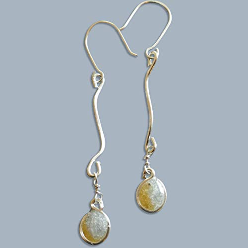 (Handmade Lightweight Sterling Silver 2 Tone Sil ver/Gold Resin Wave Drop Earrings Beads by Bettina)