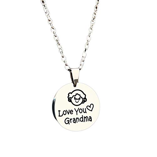Eightgo Mi Mama Love You Grandma Pendant Necklace Love Family Kids Boys Girls Necklaces for Mother's Day Jewelry(Grandmother)