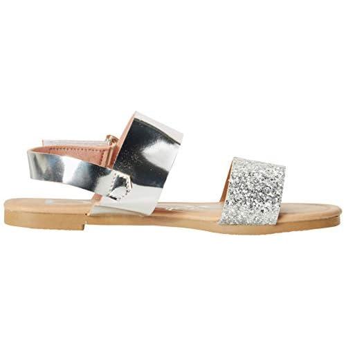 bebe Girls Metallic Sandals with Chunky Glitter Strap