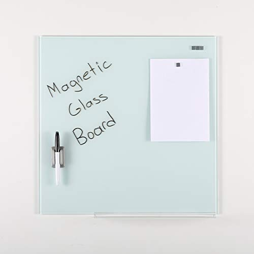 (Wall Mounted Magnetic Dry Erase Tempered Glass Write Board Set, White, 13.78
