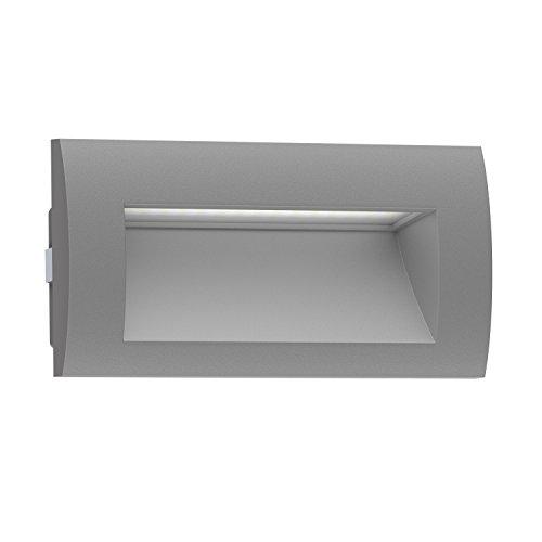 ledscom LED Wand-Einbauleuchte Zibal für außen, grau, warm-weiß, 140x70mm