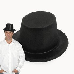 Black Plastic Top Hat - FLOCKED PLASTIC TOP HAT (1 DOZEN)