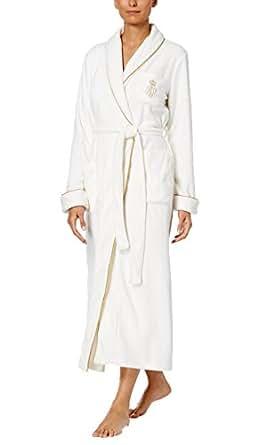 Lauren Ralph Lauren Women's Dalton Fleece Shawl Collar Long Robe (Natural/Cream, Large)