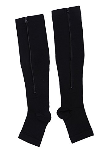 Easy On Zip compression Socks For Men Women With Toe Open Design Zipper Leg Support Knee-High Stockings-3Pair -