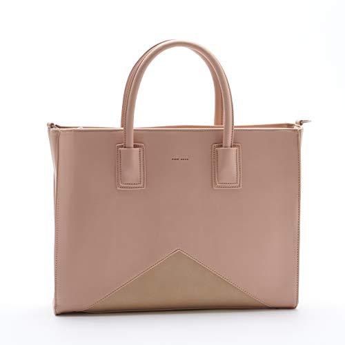 Greta Leather - Greta Eye Catching Work School Travel Tan 16 x 12 Vegan Leather Tote Handbag