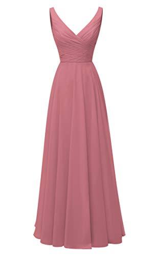 (AlfaBridal Long Bridesmaid Dresses Double V Neck Chiffon Wedding Evening Gown Dark Pink)