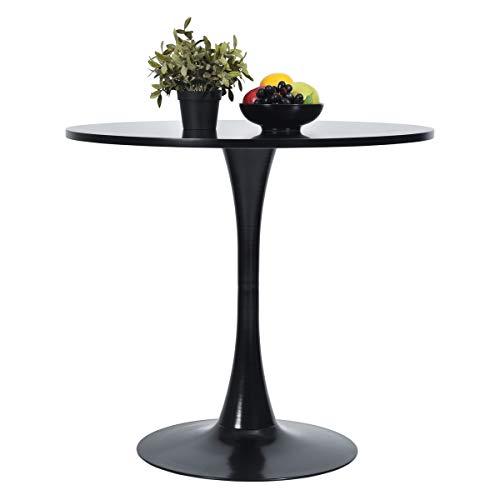Mesa de comedor redonda moderna de cocina con pedestal, color negro, 80 x 80 x 73 cm