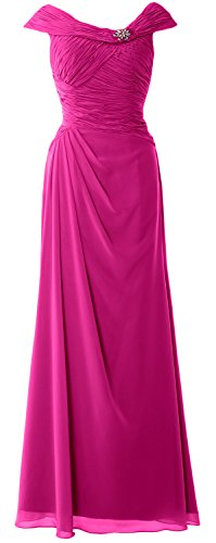 Women Boat MACloth Dress Neck Mother Bride Sleeves Cap of Gown Long the Formal Fuchsia tUqCwq