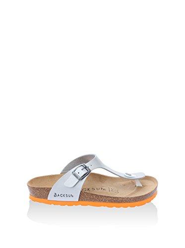 Backsun Damen Sandale Leder Silber Orange