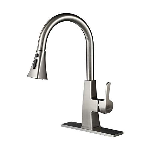 Kitchen sink faucet-Arofa A03LY single handle brushed nickel stainless steel gooseneck kitchen faucets with pull down sprayer (Convert Two Handle Sink Faucet To Single Handle)