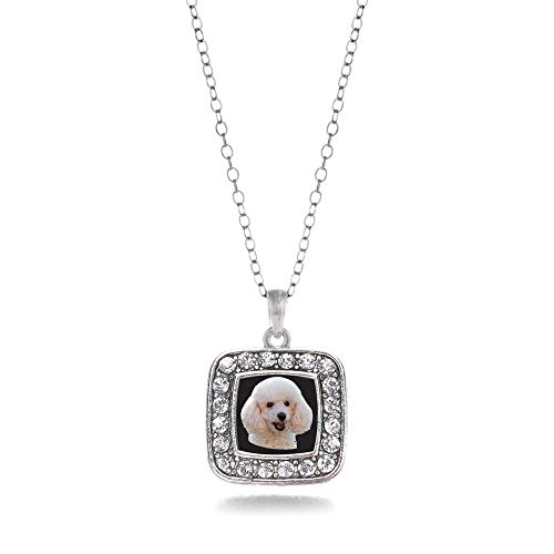 - Inspired Silver - The Poodle Charm Necklace for Women - Silver Square Charm 18 Inch Necklace with Cubic Zirconia Jewelry