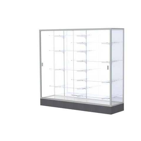 Aluminum Waddell Frame (Waddell Manufacturing Company Waddell 2606-WB-SN Colossus 72 x 66 x 20 in. Aluminum Frame Floor Display Case with Black Laminate Base44; White Back - Satin)
