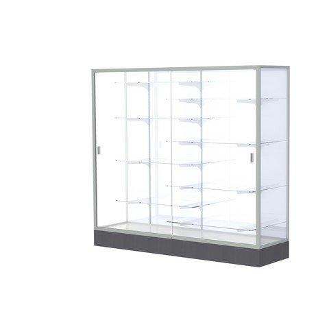 Frame Aluminum Waddell (Waddell 2606-WB-SN Colossus 72 x 66 x 20 in. Aluminum Frame Floor Display Case with Black Laminate Base44; White Back - Satin)