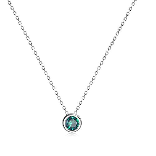 (AXELUNA 925 Sterling Silver Created Emerald Green Necklace Jewelry for Women Teen Girls (May - Birthstones))